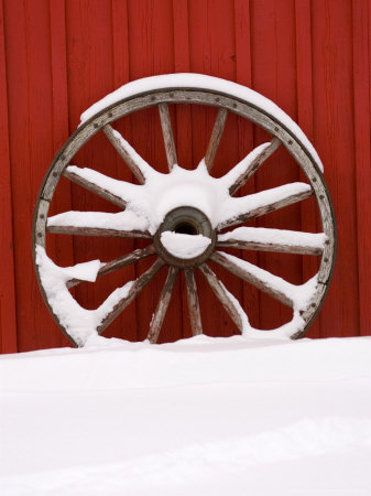Martin Stables, Wheel Detail, Banff, Alberta Photographic Print by Michele Westmorland