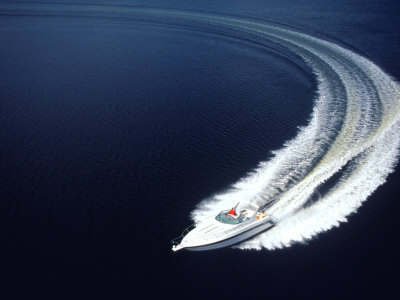 Aerial of Boat Photographic Print by Bill Bachmann
