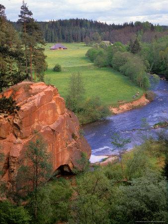 Blue Amata River Snakes through Zvartas Valley, Gauja National Park, Latvia Photographic Print by Janis Miglavs