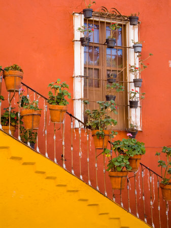 Colorful Stairs and House with Potted Plants, Guanajuato, Mexico Photographic Print by Julie Eggers