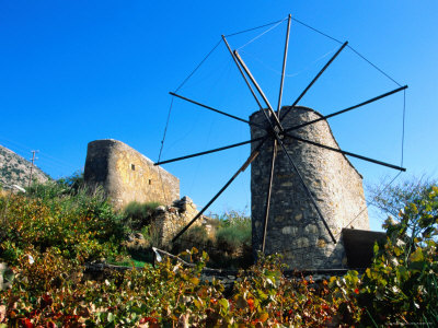 Windmills on the Lassithi Plateau, Rethymno, Crete, Greece Photographie