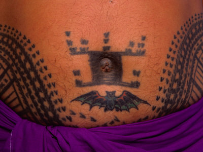 Traditional Tattoo Around a Man's Navel, Savaii Island, Western Samoa,