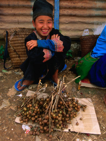 White Hmong Girl with Dried Berries, Looking at Camera, Laos Photographic Print by Kraig Lieb