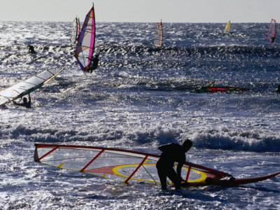 Windsurfers on Prado Beach, Marseille, France Photographic Print by