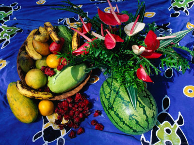 Flowers and Fruits on a Cloth, Castle Comfort, Dominica Photographic Print by Michael Lawrence