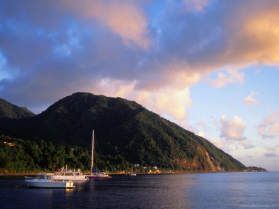 Yachts Moored South of Rouseau, West Coast, Roseau, Dominica Photographic Print by Michael Lawrence