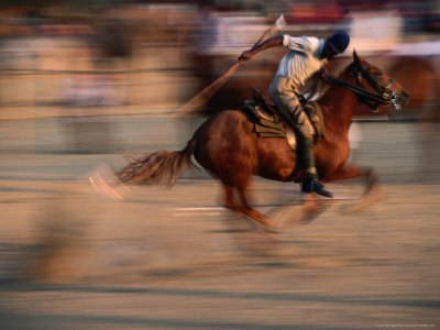 Man Riding Horse at Annual Pushkar Mela, Pushkar, India Lámina fotográfica por Frances Linzee Gordon