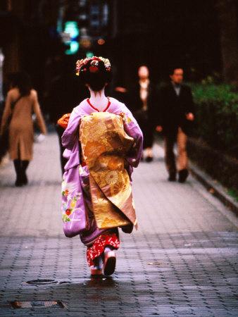 Geisha in Kimono Walking Away, Pontocho Districts, Kyoto, Japan Photographic Print by Phil Weymouth