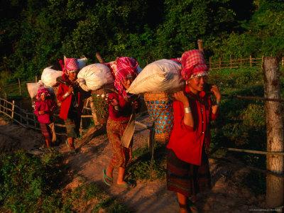 Akha Women Carrying Shopping Home, Muang Sing, Laos Photographic Print by Kraig Lieb