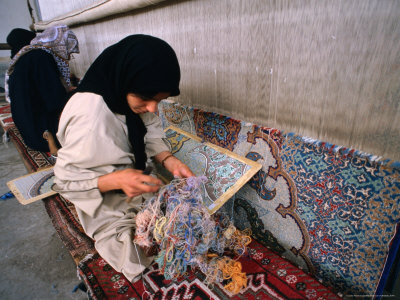 Women Weaving Carpets in Factory, Esfahan, Iran Photographic Print by Phil Weymouth