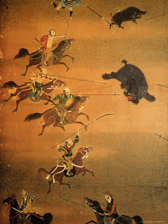 Hunting Scene Depicted on House Screen, Kyoto, Japan Photographic Print by Frank Carter