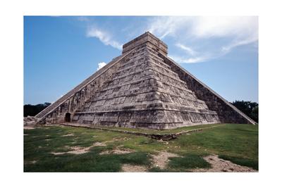 Low angle View of El Castillo Chichen Itza Photographic Print by George Oze