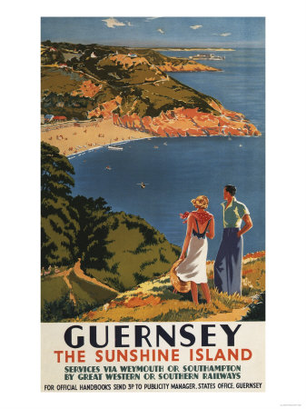 Guernsey, England - Southern/Great Western Rail Couple on Cliff Poster Art Print