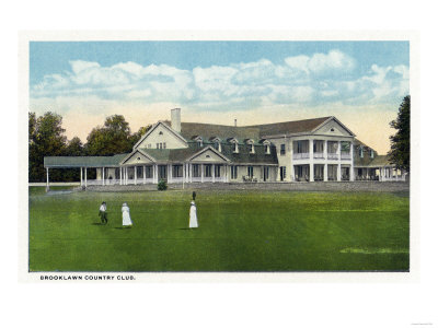 Bridgeport, Connecticut - Exterior View of Brooklawn Country Club, Women Golfing Art by  Lantern Press