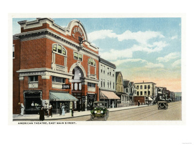 Bridgeport, Connecticut - East Main Street View of the American Theatre Prints by  Lantern Press