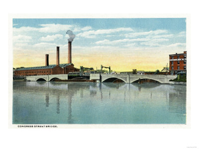 Bridgeport, Connecticut - Waterfront View of the Congress Street Bridge Prints by  Lantern Press