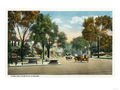 Bridgeport, Connecticut - View of Park and Fairfield Avenues Prints by  Lantern Press