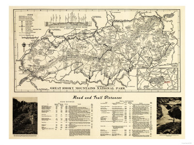 Great Smoky Mountains National Park - Panoramic Map Reproduction d'art