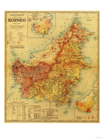 Borneo - Panoramic Map Posters by  Lantern Press