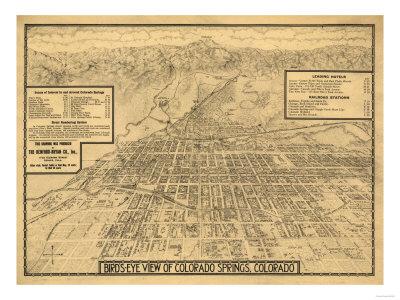 Colorado - Panoramic Map of Colorado Springs No. 3 Art by  Lantern Press