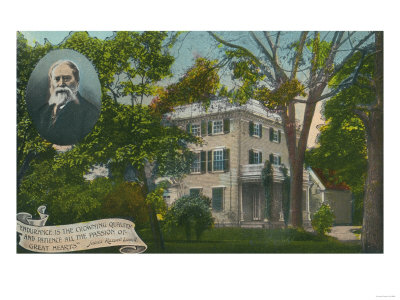 Cambridge, MA - Exterior View of James Russell Lowell Home, built in 1767 Art by  Lantern Press