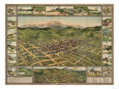Colorado - Panoramic Map of Cripple Creek No. 2 Prints by  Lantern Press
