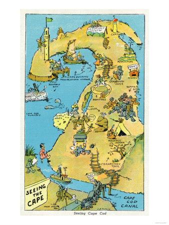 Cape Cod, Massachusetts - Cartoon Points of Interest on Cape Cod ...