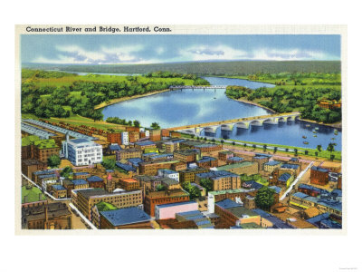 Hartford, Connecticut - Aerial View of the City and the Connecticut River Art by  Lantern Press
