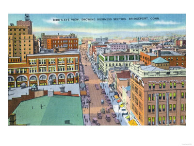 Bridgeport, Connecticut - Aerial View of Business Section of the City Prints by  Lantern Press