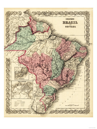 Brazil and Guayana - Panoramic Map Prints by  Lantern Press