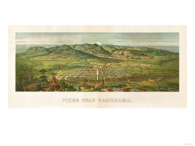 Colorado - Panoramic Map of Colorado Springs No. 2 Prints by  Lantern Press