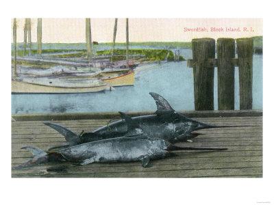 Block Island, Rhode Island - View of Two Swordfish Posters by  Lantern Press