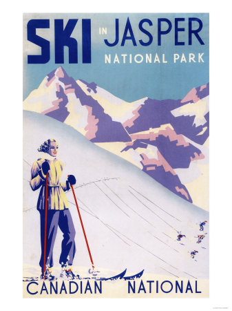 Jasper National Park, Canada - Woman Posing Open Slopes Poster Plakater af  Lantern Press
