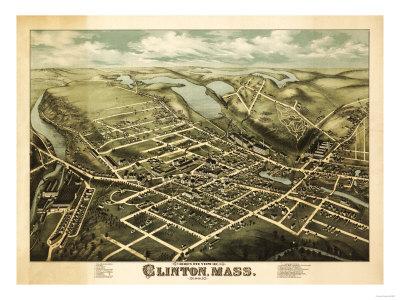 Clinton, Massachusetts - Panoramic Map Prints by  Lantern Press