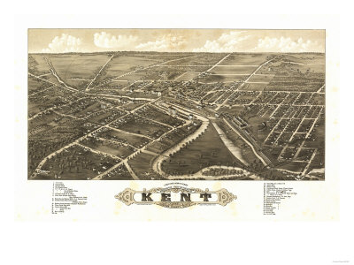 Kent, Ohio - Panoramic Map Prints by  Lantern Press