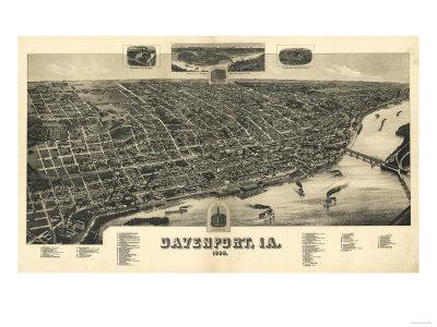 Davenport, Iowa - Panoramic Map Prints by  Lantern Press