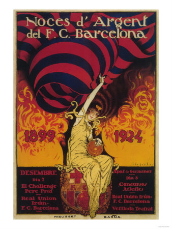 Barcelona, Spain - Soccer Promo Poster Art by  Lantern Press