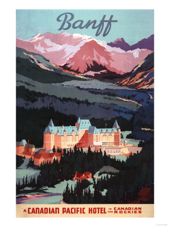 Banff, Alberta, Canada - Overview of the Banff Springs Hotel Poster Plakater af  Lantern Press
