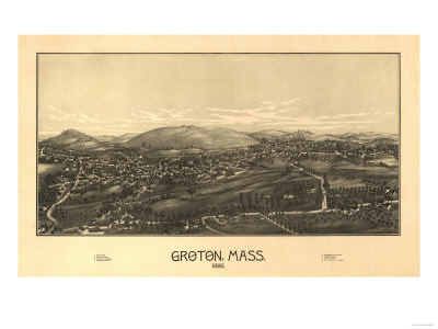Groton, Massachusetts - Panoramic Map Art by  Lantern Press