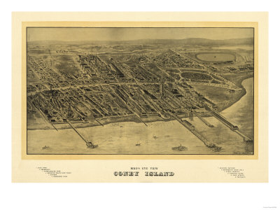 Coney Island, New York - Panoramic Map Prints by  Lantern Press