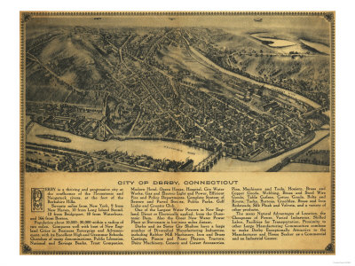 Derby, Connecticut - Panoramic Map Art by  Lantern Press