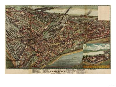 Kansas City, Missouri - Panoramic Map Prints by  Lantern Press