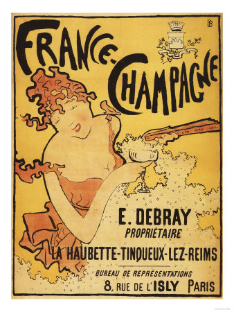 Champagne, France - E. Debray Champagne Advertisement Poster Posters by  Lantern Press
