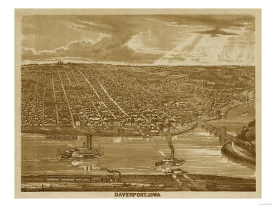 Davenport, Iowa – Panoramic Map Prints by  Lantern Press