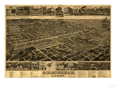 Birmingham, Alabama - Panoramic Map Art by  Lantern Press
