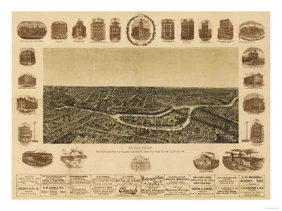 Dallas, Texas - Panoramic Map Prints by  Lantern Press