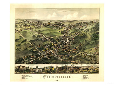 Cheshire, Connecticut - Panoramic Map Art by  Lantern Press