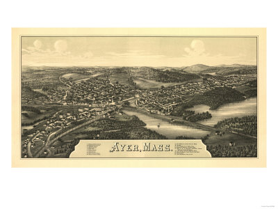 Ayer, Massachusetts - Panoramic Map Prints by  Lantern Press
