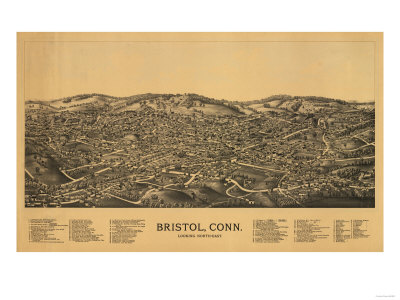 Bristol, Connecticut - Panoramic Map Prints by  Lantern Press