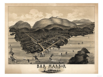 Bar Harbor, Maine - Panoramic Map Prints by  Lantern Press